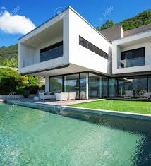house with pool modern house with pool in exterior stock photo picture and royalty