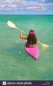 hawaii oahu lanikai back view woman in kayak clear
