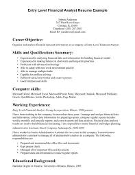entry level financial advisor resume financial analyst resume