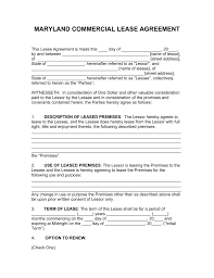 free maryland commercial lease agreement template pdf word
