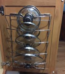 kitchen cabinet door pot and pan lid rack organizer mount a pot lid rack to your cabinet doors pot lid