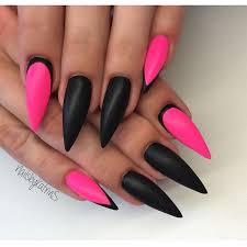 neon pink black stiletto nail art nail art pinterest black