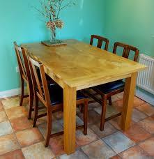 Handmade Kitchen Table Bespoke Handmade Kitchen Table In Reclaimed Elm With Oak Base