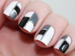 black silver and gold line art toenail top black u0026 white nail