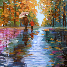 acrylic painting canvas art impressionism rainy day wall