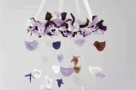 lavender brown purple u0026 white bird mobile nursery decor baby