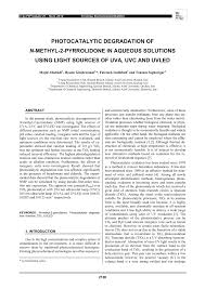 photocatalytic degradation of n methyl 2 pyrrolidone in aqueous