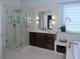 bathroom roman shower frameless glass door and smart tile wall