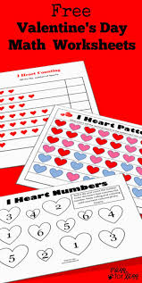 preschool worksheets for valentines day tracing cut and paste math