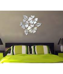 saifee acrylic 3d home decor cut out flower combined mirror wall