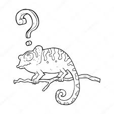 black and white cartoon curious chameleon u2014 stock vector