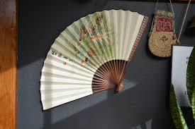 Oriental Wall Fan by Vintage Oriental Hand Painted Wall Decor Folding Fan Asian
