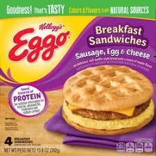 cuisine eggo liege kellogg s eggo bacon egg cheese breakfast sandwich 10 8oz 4ct