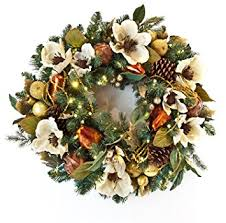 new battery pack pre lit decorated wreath gold pear