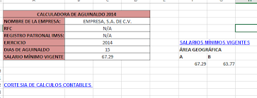 calculadora de salario diario integrado 2016 calculadora de aguinaldo 2016 en excel calculos contables