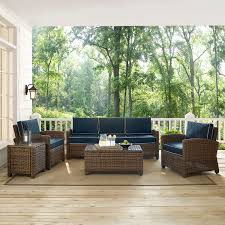 Crosley Palm Harbor Patio Furniture Bradenton Navy 5 Piece Outdoor Wicker Sofa Conversation Set With
