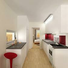 Red And White Kitchen Ideas Apartment Narrow Appartment Kitchen With White Decoration Idea