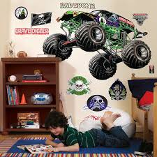 grave digger monster truck wallpaper monster jam giant wall decals birthdayexpress com
