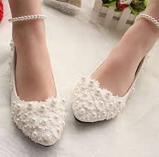 wedding shoes no heel white lace wedding shoes pearls ankle trap bridal flats low high