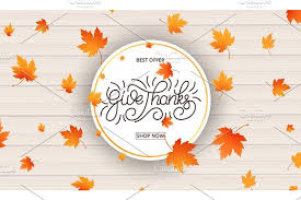thanksgiving day card give thanks calligraphy and falling autumn