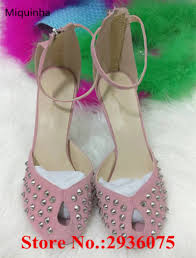 new pink suede leather peep toe shallow pumps rivets studded back