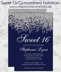 sweet 16 birthday invitations quinceanera invitation navy