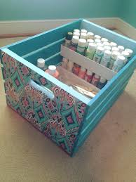using a wooden crate as a craft box using the box dividers