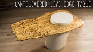 diy cantilevered live edge table w white concrete base youtube