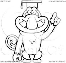 cartoon clipart of an outlined proboscis monkey professor wearing