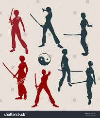 kung fu martial art silhouettes woman stock vector 608819567