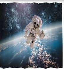 Outer Space Curtains Outer Space Astronaut Over Earth Fabric Shower Curtain