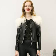 2018 fashion leather jackets for women faux fur collar long sleeve