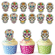 sugar skull cake topper akgifts sugar skull cupcake toppers cake decorations pack of 12