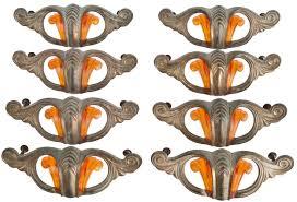 art deco cabinet pulls set of eight vintage art deco brass and bakelite drawer pulls