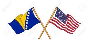 Flag Of Bosnia America And Bosnia And Herzegovina Alliance And Friendship Stock