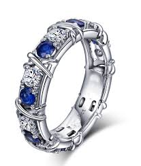 sapphires wedding rings images Designer 1 carat alternating diamond and sapphire wedding ring jpg