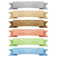 Stick Paper Header Origami Tag Recycled Paper Craft Stick On White Background