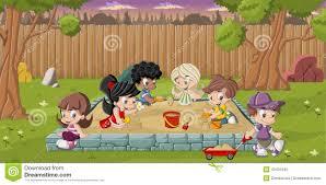 Backyard Cartoon Cartoon Children Playing Stock Vector Image 43401045