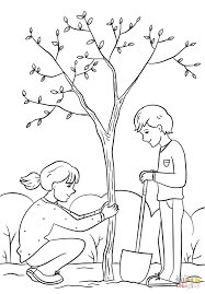 and boy planting a tree coloring page free printable