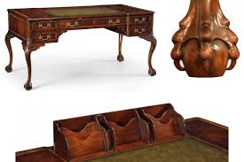 Antique Style Writing Desk Fine Chippendale Writing Desk With Leather Inset Top