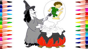 colloring witch halloween coloring pages kids painting