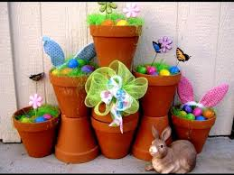 Easter Outdoor Decorations by Outdoor Easter Decorations Using Terra Cotta Pots Featuring