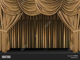 Velvet Curtains Old Fashioned Elegant Theater Stage With Gold Velvet Curtains