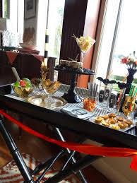 happy halloween quick cocktail bar setup with a frightful sip