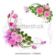 Rose Flower Design Silhouette Roses Leaves Flowers Tattoo Vector Stock Vector