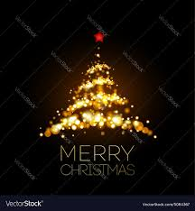 gold christmas tree shiny gold christmas tree in black poster vector image