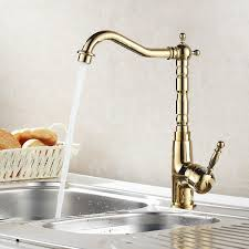 Gold Kitchen Sink 360 Rotating Gold Polished Kitchen Faucets Cold Mixer Tap
