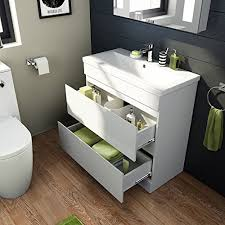 Bathroom Sink Units With Storage 800mm White Gloss Vanity Sink Unit Ceramic Basin Bathroom Storage