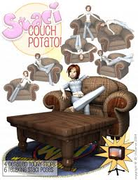 Couch Cartoon Staci Couch Potato 3d Models And 3d Software By Daz 3d