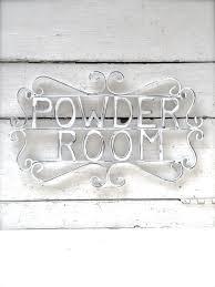 Shabby Chic Bathroom Decor by Powder Room Sign Metal Bathroom Sign Shabby Chic Decor Bath